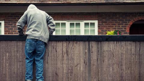 Burglar climbing a fence